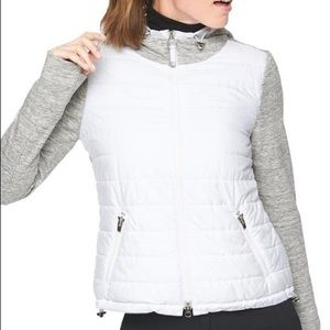 Athleta Cozier Insulated Hoodie Light Grey Heather